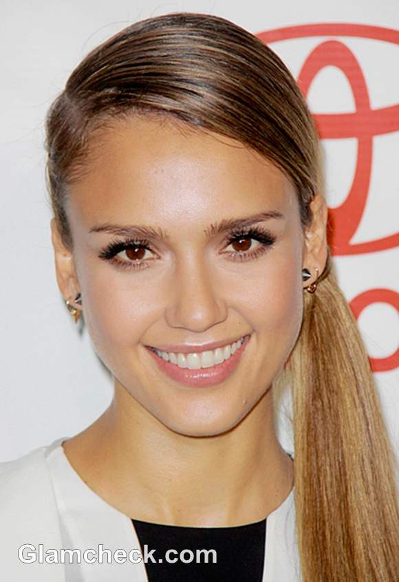 Jessica Alba Sports Sweet Side Ponytail At Media Awards Show