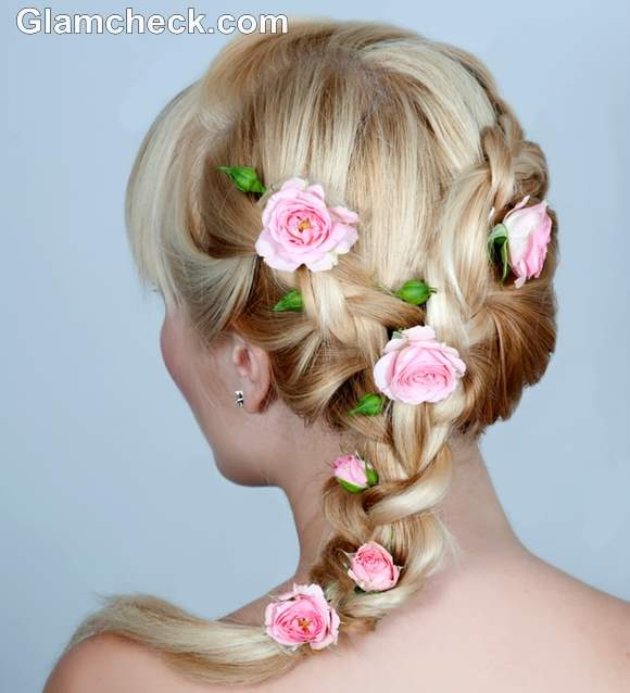 hairstyle pink flowers breast cancer awareness style