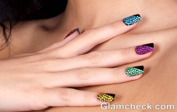 nail art multi colored crystal nails diy