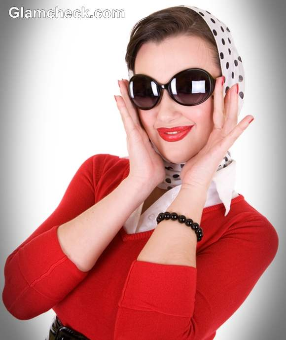 retro look with polka dot scarf