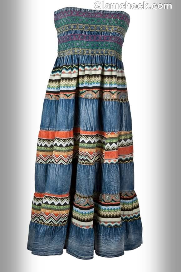 wearing denim maxi dress to beach