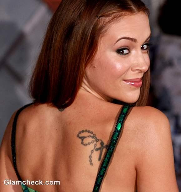 Alyssa Milano Neck Shoulder Tattoos their Meaning