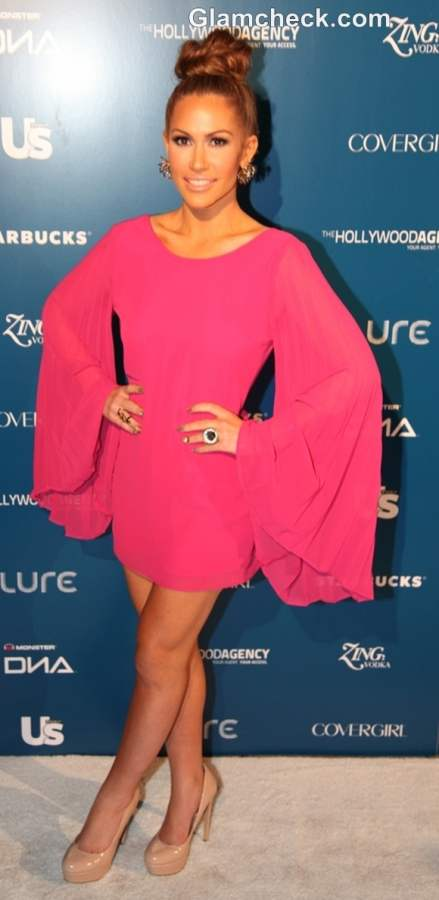 Kimberly Cole Retro in Pink at The Wanted Afterparty