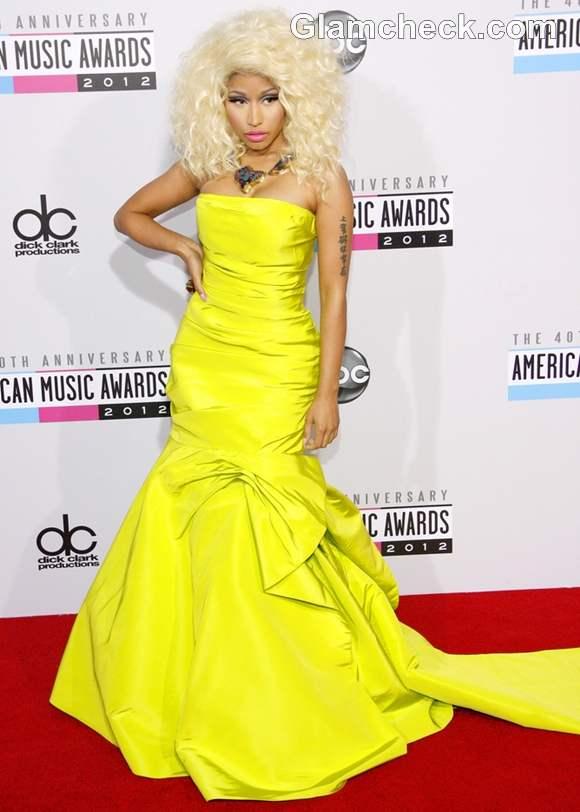 Nicki Minaj Dramatic Neon Gown at American Music Awards 2012