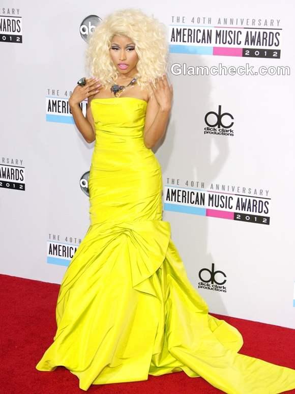 Nicki Minaj Neon Gown at American Music Awards 2012