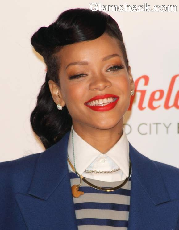 Rihanna hairstyle makeup 2012 Switch on Westfield X'mas Lights