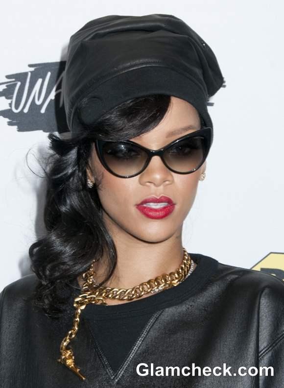 Rihanna sports black hair 2012 Unapologetic Album Launch
