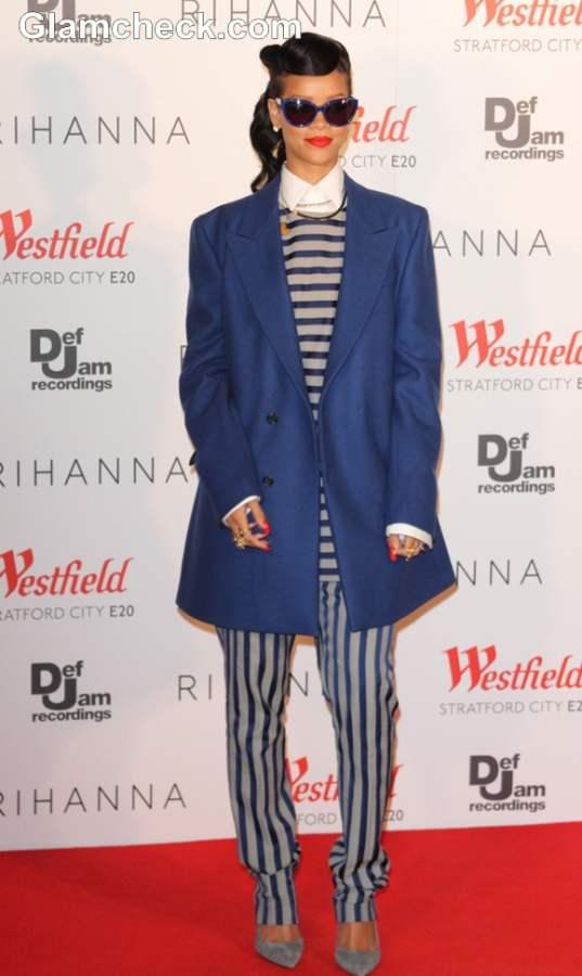 Rihanna stripe outfit 2012 Switch on Westfield X'mas Lights