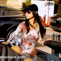 Celeb Street Style Bai Ling Spells Sexy In A Jersey Mini At Beverly Hills