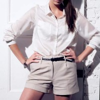 Rock the Look Urban Chic in Tailored Beige Shorts and White Collared Shirt
