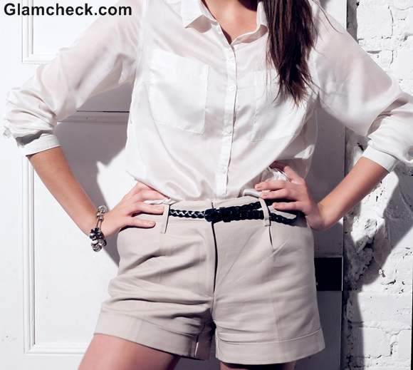 Shorts worn with White Collared Shirt