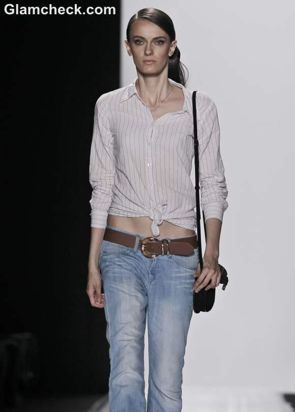 Wearing Boyfriend Jeans with Front tie shirt Uber cool Androgynous look