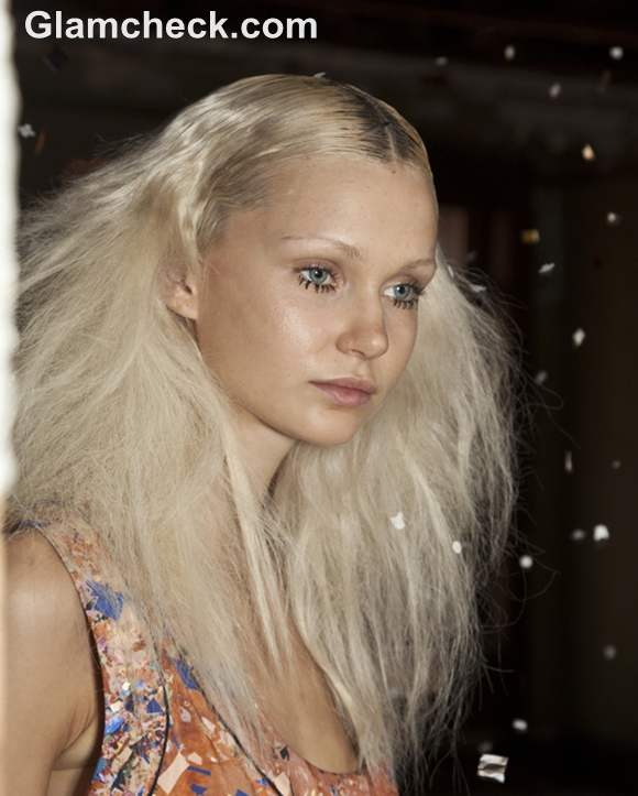 hairstyle trend s-s 2013 Dual Textured Hair and Bold Lashes