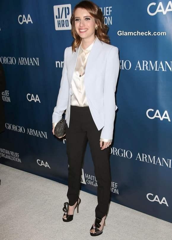 Emma Roberts Classy in Powder-blue Blazer at Fundraiser