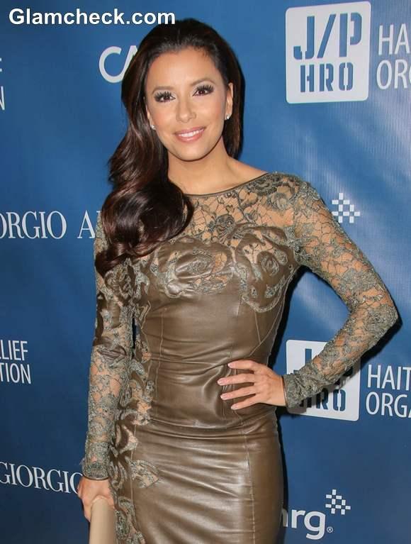 Eva Longoria Sexy In Lace Leather Dress At Sean Penn S Fundraising Gala