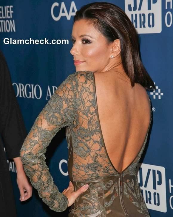 Eva Longoria 2013 lace leather dress at Sean Penns Fundraising Gala