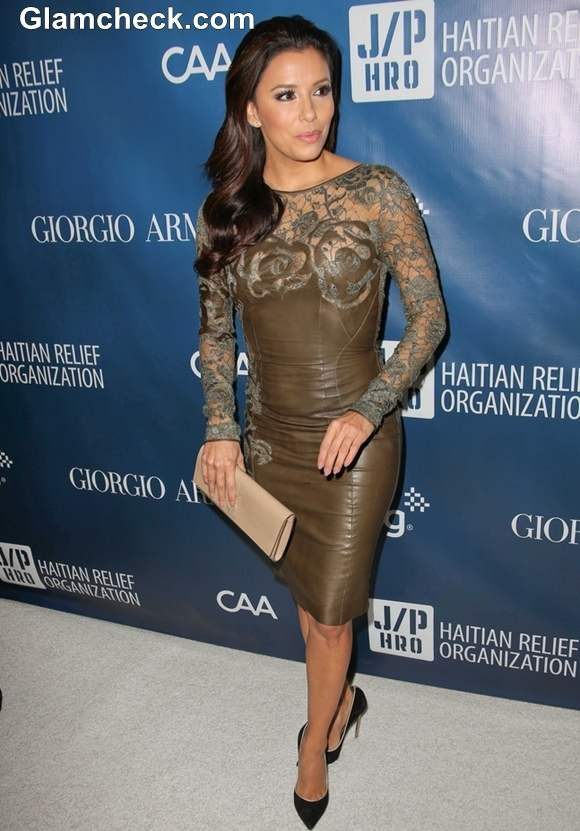 Eva Longoria Sexy In Lace Amp Leather Dress At Sean Penn S