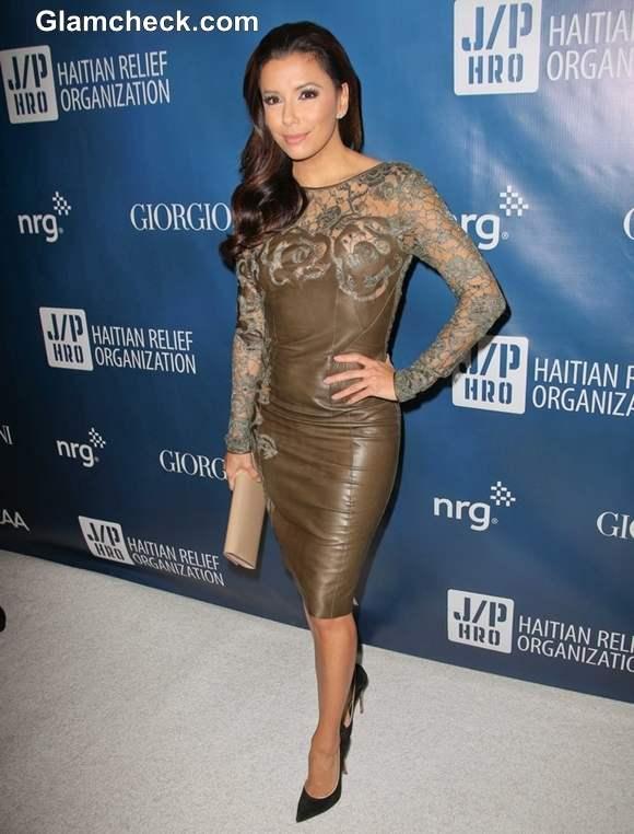 Eva Longoria lace leather dress 2013  Sean Penns Fundraising Gala
