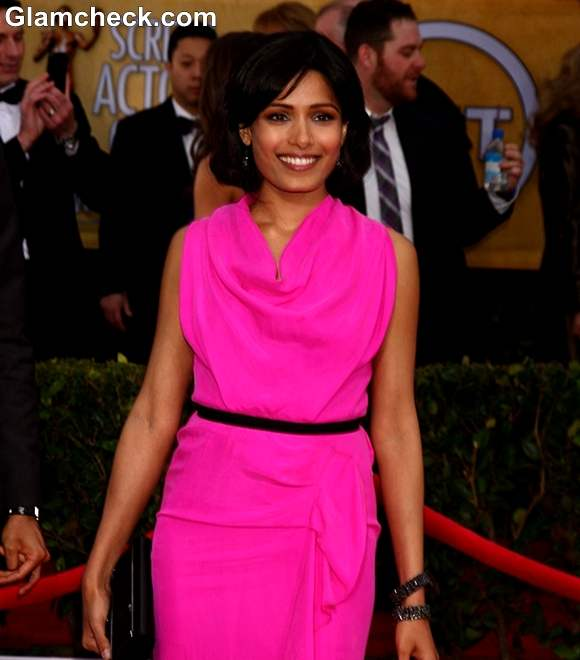 Freida Pinto Glows in Pink Gown at 2013 SAG Awards