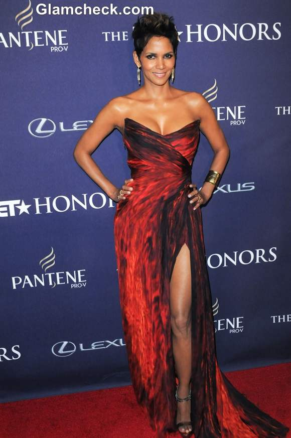 Halle Berry Scarlet Gown at BET Honors 2013