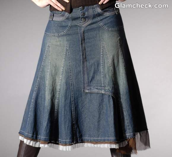 How to wear Long Denim Skirt for Winters