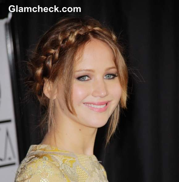 Jennifer Lawrence Milkmaid Braids hairstyle 2013