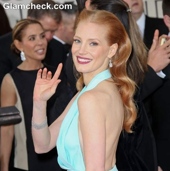 Jessica Chastain Hairstyle at 70th Anuual Golden Globe Awards
