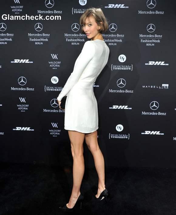 Karlie Kloss white dress at Mercedes Benz Fashion Fall Winter 2013