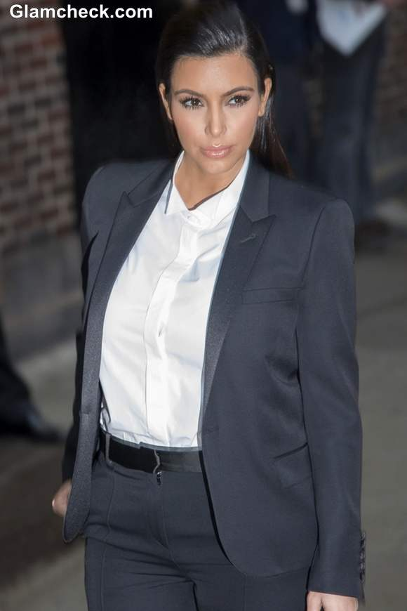 Kim Kardashian 2013 Androgynous look at Late Show with David Letterman