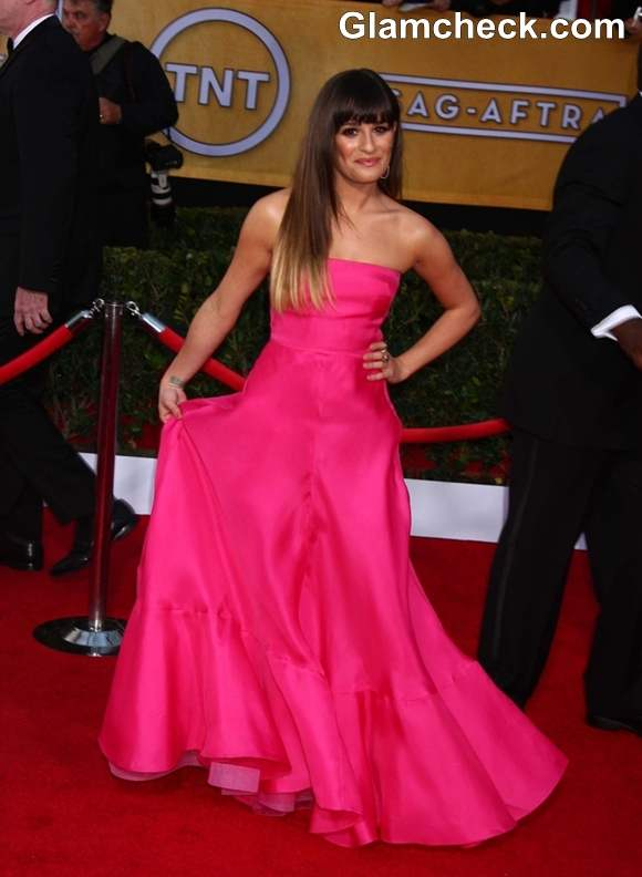 Lea Michelle in Pink at 2013 Screen Actors Guild Awards