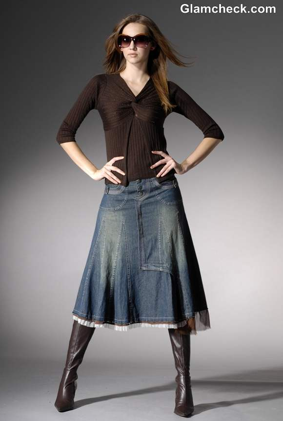 Winter Fashion How to Style a Long Denim Skirt for Winters