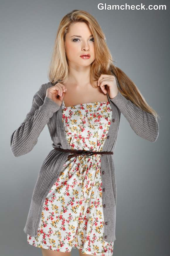 Winter Fashion How to wear a Grey Cardigan with Dress