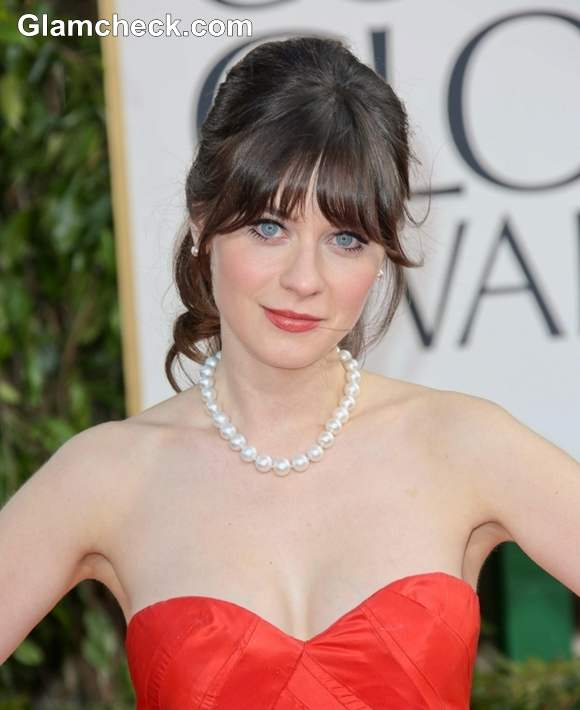 Zooey Deschanel Hairstyle at 70th Anuual Golden Globe Awards