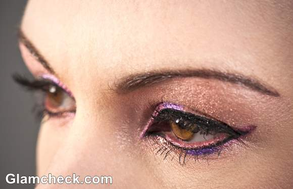 shimmer eyes with colored eye-liner makeup how to