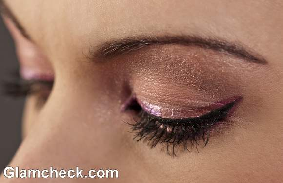shimmer eyes with pInk colored eye-liner makeup how to