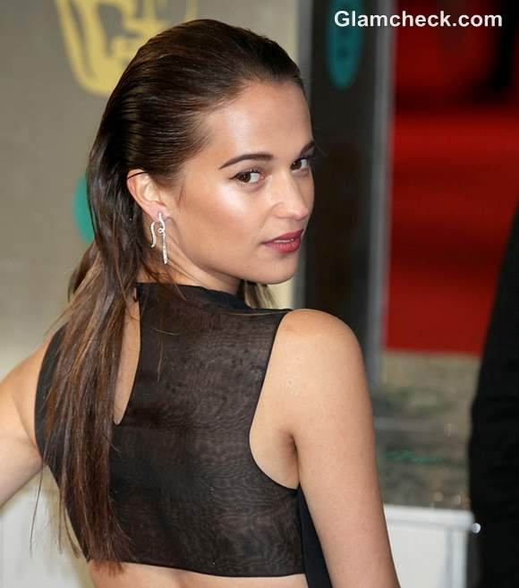 Alicia Vikander Sexy Slicked-back Do at 2013 BAFTAs