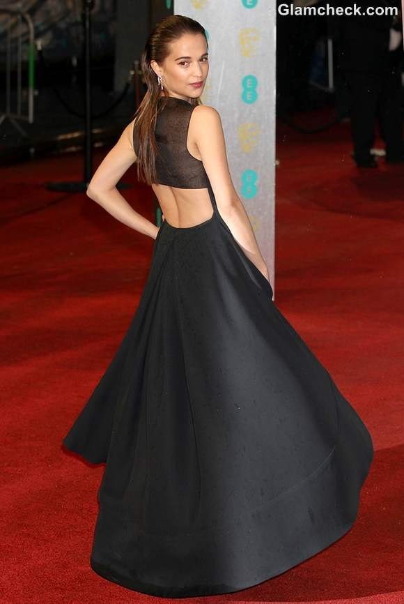 Alicia Vikander Sports Sexy Slicked-back Do at 2013 BAFTAs