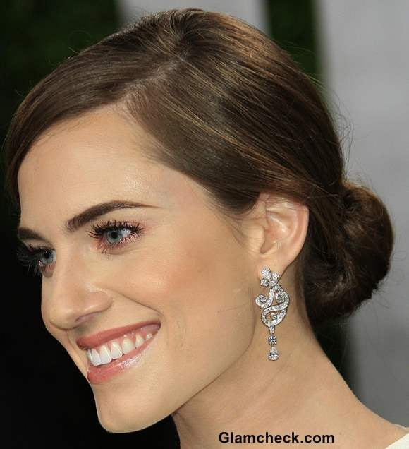 Allison Williams Diamond earrings at 2013 Elton Johns Oscar Viewing Party
