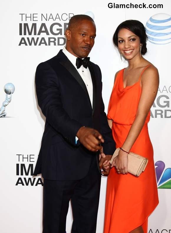Corinne Foxx Accompanies Dad Jamie Foxx to NAACP Awards 2013