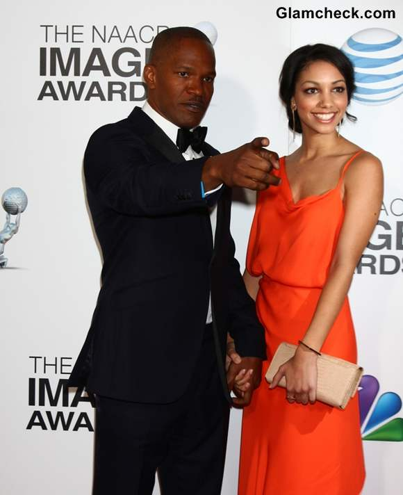 Corinne Foxx at NAACP Awards 2013 with dad