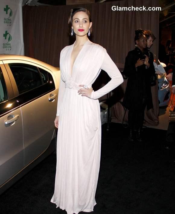 Emmy Rossum Retro Glam at 2013 Pre-Oscar Party