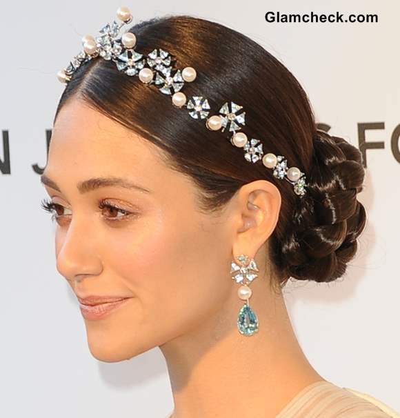 Emmy Rossum hair accessoryat 2013 Elton Johns Oscar Viewing Party