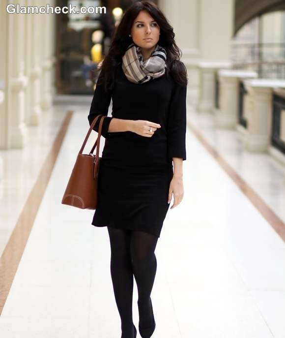 How to Style Black Winter Dress with scarf