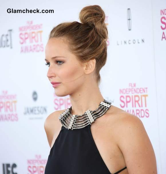 Jennifer Lawrence Twisted Messy Top Knot hairstyle  2013 Film Independent Spirit Awards