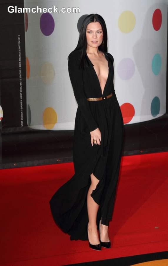 Jessie J in Versace black gown 2013