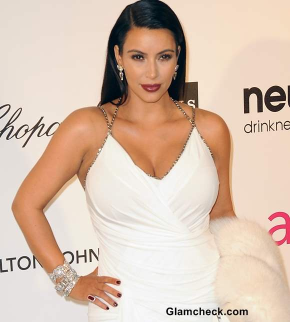 Kim Kardashian Diamond Jewelry at 2013 Elton Johns Oscar Viewing Party