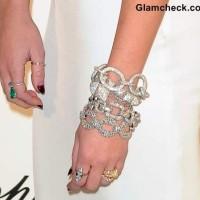 Miley Cyrus Diamond studded bracelets at 2013 Elton Johns Oscar Viewing Party