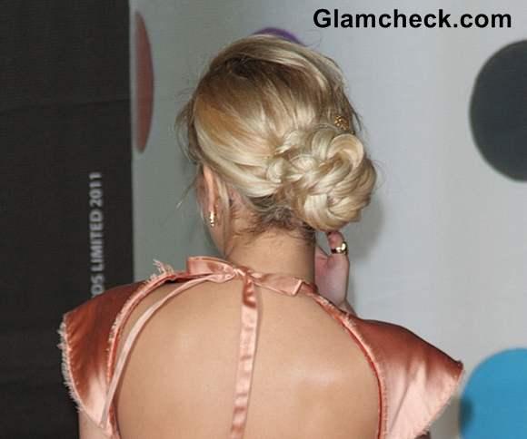 Rita Ora Knotted Bun hairstyle BRIT Awards 2013
