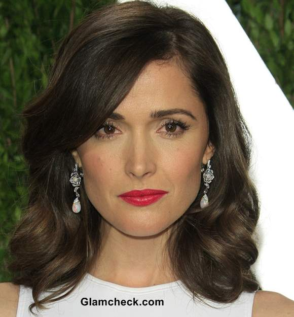 Rose Byrne Diamond earrings at 2013 Elton Johns Oscar Viewing Party