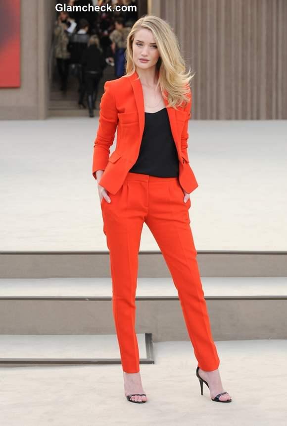 Rosie Huntington-Whiteley in orange blazer pants